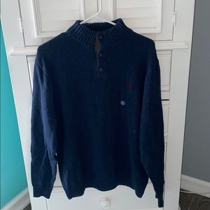 blue and brown sweater